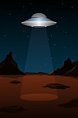 Alien spaceship above planet Mars. Vertical poster. Vector illustration