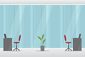 Office workplace. No people. Vector illustration