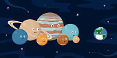 Planet Earth in medical mask and other planets of Solar System. Cartoon style. Vector illustration