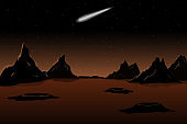 Planet Mars and comet in sky. Vector illustration