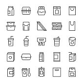 Food packaging and beverages 25 line icons