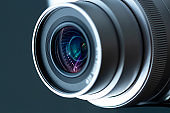 Professional Photo lens with reflection closeup