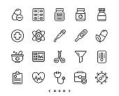 Hospital, medical and virus line icon set