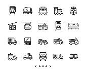 Train and truck transportation line icon set