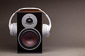 Wireless headphone on speaker isolate on grey