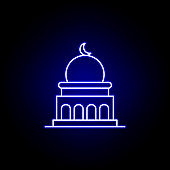 mosque, death outline blue neon icon. detailed set of death illustrations icons. can be used for web, logo, mobile app, UI, UX