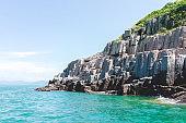 Slanted shot of columnar rock structure, Hong Kong Geographical Park