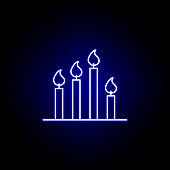 candles, death outline blue neon icon. detailed set of death illustrations icons. can be used for web, logo, mobile app, UI, UX