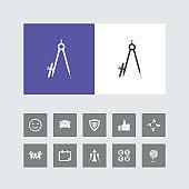 Creative Geometry Compass Icon with Bonus Icons.