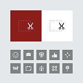 Creative Cut or Scissor Icon with Bonus Icons
