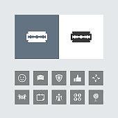 Creative Razor Blade Icon with Bonus Icons.