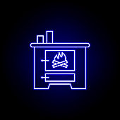 crematory, death outline blue neon icon. detailed set of death illustrations icons. can be used for web, logo, mobile app, UI, UX