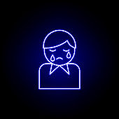 man, crying, death outline blue neon icon. detailed set of death illustrations icons. can be used for web, logo, mobile app, UI, UX