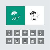 Creative Parasol & Deck Chair Icon with Bonus Icons.
