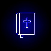 bible, death outline blue neon icon. detailed set of death illustrations icons. can be used for web, logo, mobile app, UI, UX