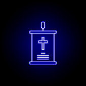 speech, death outline blue neon icon. detailed set of death illustrations icons. can be used for web, logo, mobile app, UI, UX