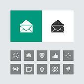 Creative Mail or envelope Icon with Bonus Icons.