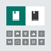 Creative Book Icon with Bonus Icons.