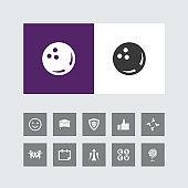 Creative Bowling Ball Icon with Bonus Icons.
