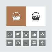 Creative Flower Basket Icon with Bonus Icons.
