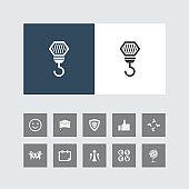 Creative Crane Hook Icon with Bonus Icons.