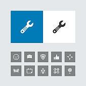 Creative Wrench Icon with Bonus Icons.