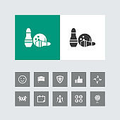 Creative Bowling Icon with Bonus Icons.