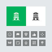 Creative Hospital Icon with Bonus Icons.