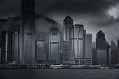 Misty season in Hong Kong lookout