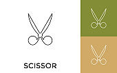 Editable Scissor Thin Line Icon with Title. Useful For Mobile Application, Website, Software and Print Media.