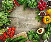 Healthy organic food rich for vitamins