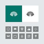 Creative Lotus Icon with Bonus Icons.