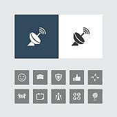 Creative Dish Antenna Icon with Bonus Icons