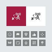 Creative Network synchronizing Icon with Bonus Icons.