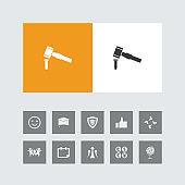Creative Hammer Chisel Icon with Bonus Icons.