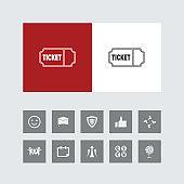 Creative Ticket Icon with Bonus Icons.