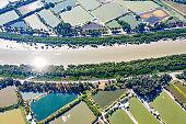 Drone view of the fish pond in hong kong, yuen long, Tai Sang Wai