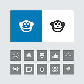 Creative Monkey Icon with Bonus Icons.