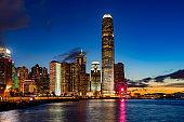 Skyline of Hong Kong at sunset