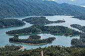 Drone view of Tai Lam Chung Reservoir, Hong Kong