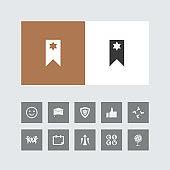 Creative bookmark Icon with Bonus Icons