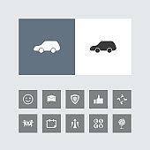Creative Car Icon with Bonus Icons