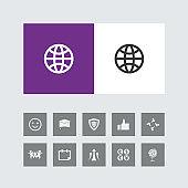 Creative Globe Icon with Bonus Icons