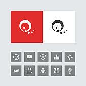 Creative Q Alphabet Icon with Bonus Icons.