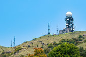 Drone view of Observatory station in Tai Mo Shan, Highest peak in Hong Kong