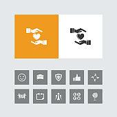 Creative Heart Care Icon with Bonus Icons.