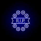 wreath, rip outline blue neon icon. detailed set of death illustrations icons. can be used for web, logo, mobile app, UI, UX