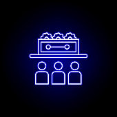 funeral ceremony, death outline blue neon icon. detailed set of death illustrations icons. can be used for web, logo, mobile app, UI, UX