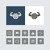 Creative Healthy World Icon with Bonus Icons.