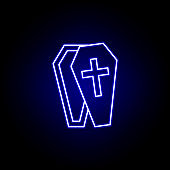 coffin, death outline blue neon icon. detailed set of death illustrations icons. can be used for web, logo, mobile app, UI, UX